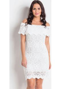 Vestido Decote Ombro A Ombro Em Tricot Branco
