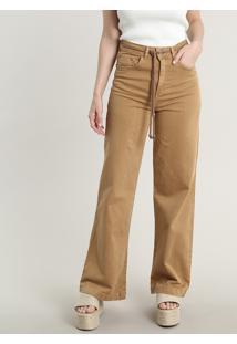 Calça De Sarja Feminina Pantalona Com Cordão Caramelo
