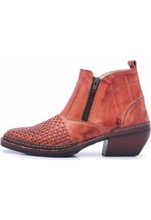 Bota Cano Curto Em Couro Top Franca Shoes Pinhão