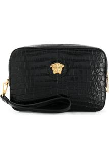 Versace Embossed Crocodile Effect Medusa Clutch - Preto