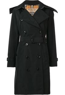 Burberry Trench Coat Com Abotoamento Duplo - Preto