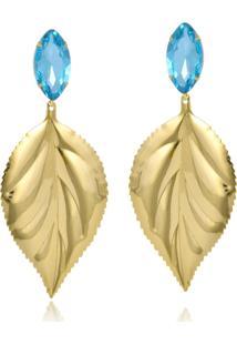 Brinco Le Diamond Folha E Cristais Azul Água Marinha
