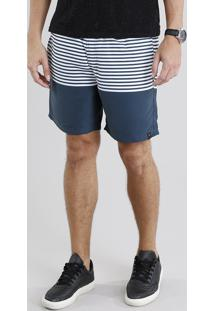Short Masculino Listrado Azul Marinho