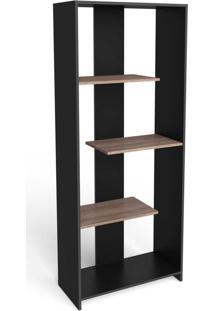 Estante Para Livros 3 Prateleiras Design Esm223 Preto - Móvel Bento