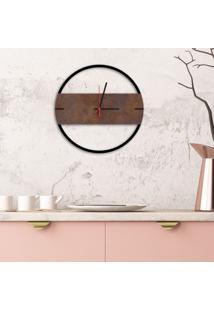 Relógio De Parede Decorativo Premium Slim Preto Ônix Com Detalhe Corten Em Relevo Médio
