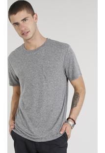Camiseta Masculina Com Linho E Bolso Manga Curta Gola Careca Cinza Mescla