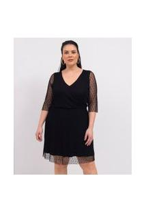 Vestido Transpassado Em Tule Poá Curve & Plus Size | Ashua Curve E Plus Size | Preto | Eg