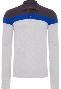 Polo Masculina Estampa Logo Calvin - Cinza