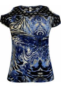 Blusa Pau A Pique - Feminino-Azul