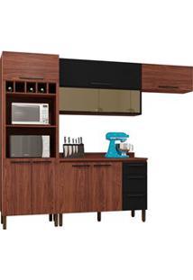 Cozinha Modulada Compacta 5 Peças Viv Concept C02 Nogueira/Black - Kit