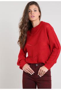 Suéter Feminino Amplo Em Tricô Decote Redondo Vermelho
