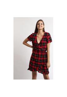Vestido Feminino Curto Transpassado Estampado Xadrez Manga Curta Vinho