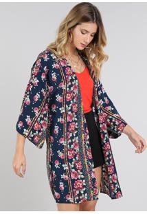Kimono Feminino Estampado Floral Com Fendas Azul Marinho