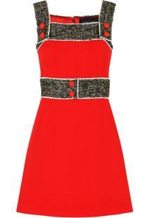 Dolce & Gabbana Vestido Com De Crepe E Tweed - Vermelho