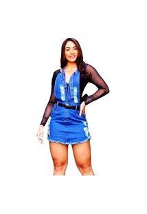 Macacão Jardineira Jeans Decotada Feminino Curto O Rei Do Brás