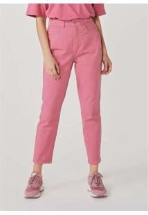 Calça Básica Feminina Em Sarja Rosa