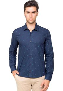 Camisa Manga Longa Tony Menswear Origami Slim Azul-Marinho