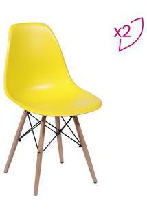 Or Design Jogo De Cadeiras Eames Dkr Amarelo & Madeira 2Pã§S