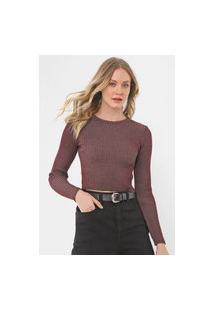 Blusa Cropped Tricot Calvin Klein Jeans Canelada Bordô