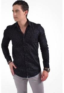 Camisa Horus Social Slim Estampada - Masculino-Preto