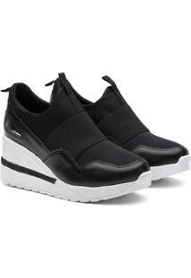 Tênis Sneaker Vicerinne Salto Alto Anabela Macio Feminino - Feminino-Preto