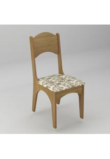 Cadeira Com Assento Estofado Ca18 Dalla Costa - Caixa Com 2 Unidade - Freijó Floral Claro