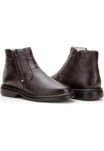 Bota Capelli Boots Couro Com Zíper Lateral Masculina - Masculino-Café