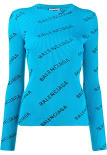 Balenciaga Logo Print Ribbed Jumper - Azul