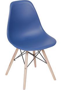 Cadeira Com Base Em Madeira Eames 1102-Or Design - Azul Marinho