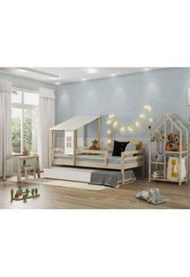 Quarto Infantil Bicama Prime Telhado Ii Grade Estante E Escrivaninha Casatema