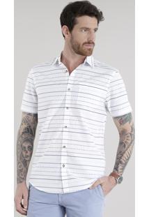Camisa Estampada Étnica Em Algodão + Sustentável Branca