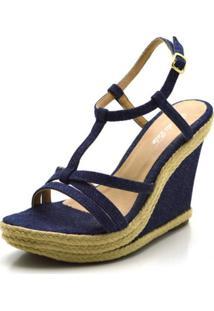 Sandália Anabela Salto Alto Em Tecido Jeans Azul - Kanui
