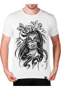 Camiseta Catrina Artseries Masculina - Masculino-Branco