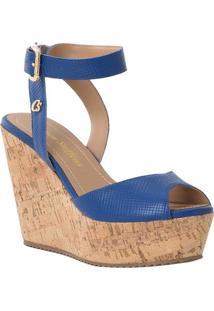 Sandália Plataforma Em Couro- Azul & Marrom- Salto: Carmen Steffens