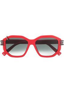 Givenchy Eyewear Óculos De Sol Oversized - Vermelho