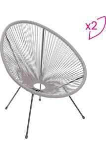 Jogo De Cadeiras Acapulco- Cinza & Preto- 2Pã§S- Or Design