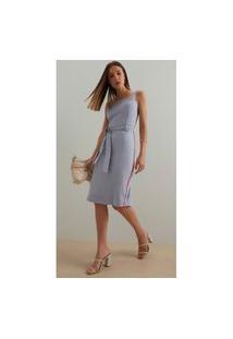 Vestido Iodice Midi Decote Quadrado Detalhe Galão Azul