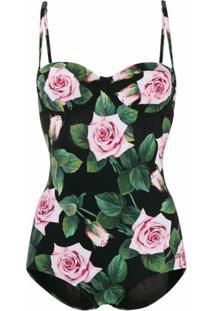 Dolce & Gabbana Maiô Com Estampa Tropical - Preto