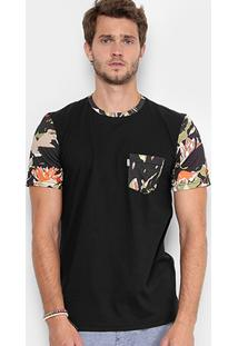 Camiseta Redley Gola Careca Bolso Estampada Masculina - Masculino