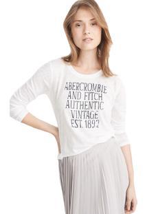 Camiseta Manga Longa Abercrombie Gráfica Branca