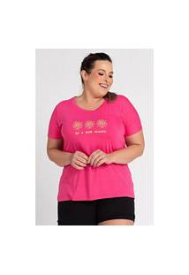 "T-Shirt Feminina Plus Size Estampada ""Be A Nice Human"""" - Serena"""
