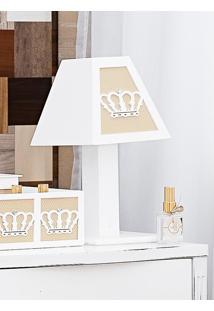 Abajur Enfeitado De Madeira Coleção Royalty Caqui
