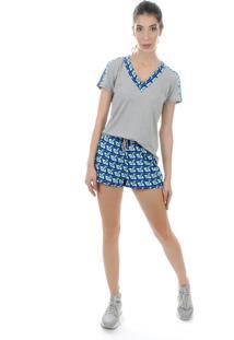 Camiseta Manga Curta Pinyx Oxy Cinza E Estampado - Tricae