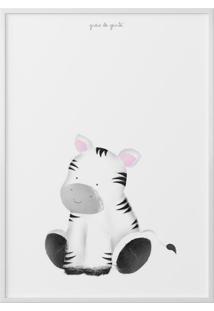 Quadro Amiguinha Zebra 40Cm Grão De Gente Cinza
