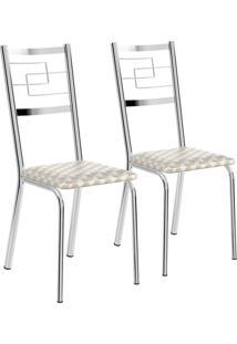 Kit 2 Cadeiras Tecido Retro Metalizado Cromado Móveis Carraro