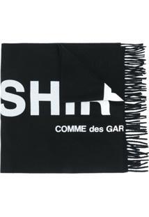 Comme Des Garçons Shirt Cachecol De Tricô Com Logo - Preto