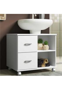Gabinete Banheiro Com Recorte Para Pia, RodãZios E 2 Gavetas Ice Multimã³Veis Branco - Incolor - Dafiti