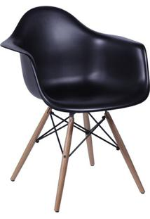 Poltrona Eames Dkr- Preta & Madeira- 82X62X44Cm-Or Design