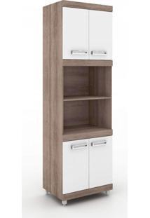 Paneleiro Torre Para Microondas E Forno 70Cm Cozinha Nápole Movelbento Rústico/Branco