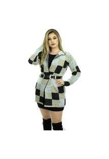 Casaco Tricot Kayla Shopping Do Tricô Lã Cardigan Kimono Xadrez